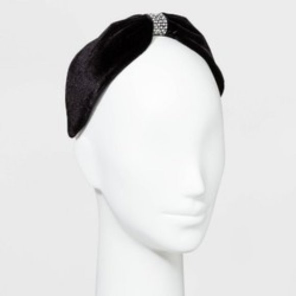 a new day Accessories - Women's Wide Velvet Knot Front w/Crystals Headband
